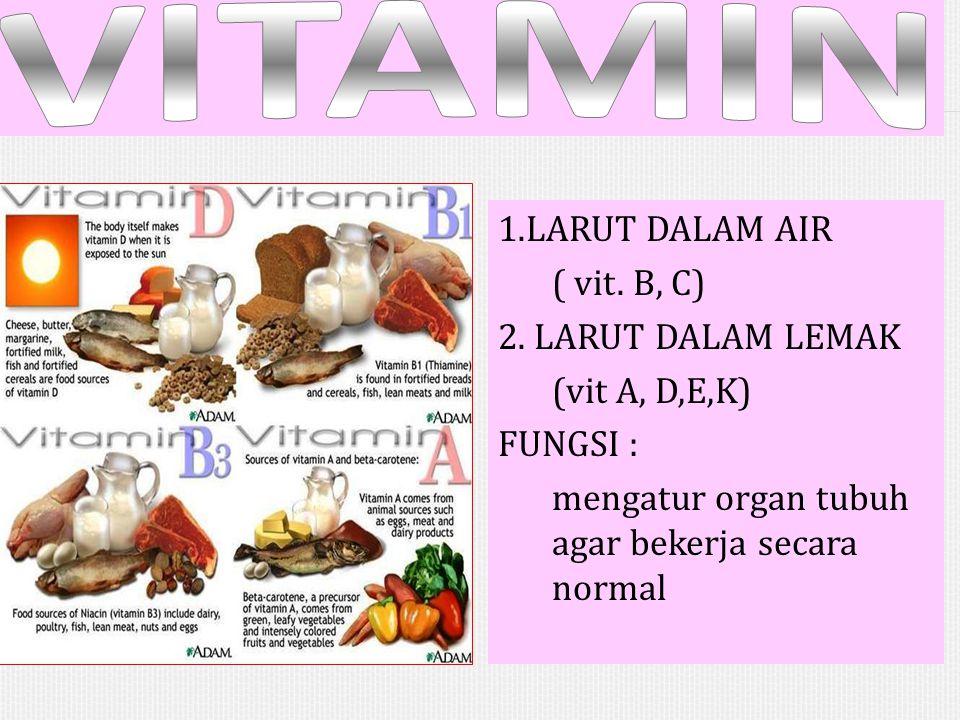 VITAMIN 1.LARUT DALAM AIR ( vit. B, C) 2.