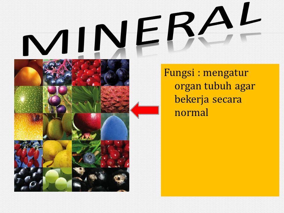 mineral Fungsi : mengatur organ tubuh agar bekerja secara normal