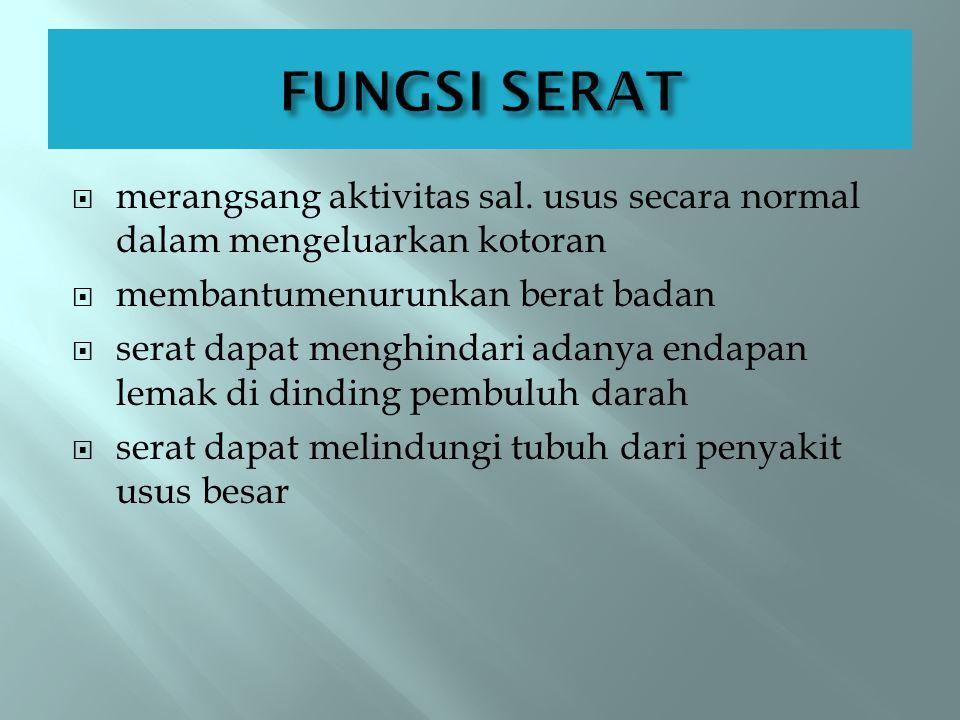 FUNGSI SERAT merangsang aktivitas sal. usus secara normal dalam mengeluarkan kotoran. membantumenurunkan berat badan.