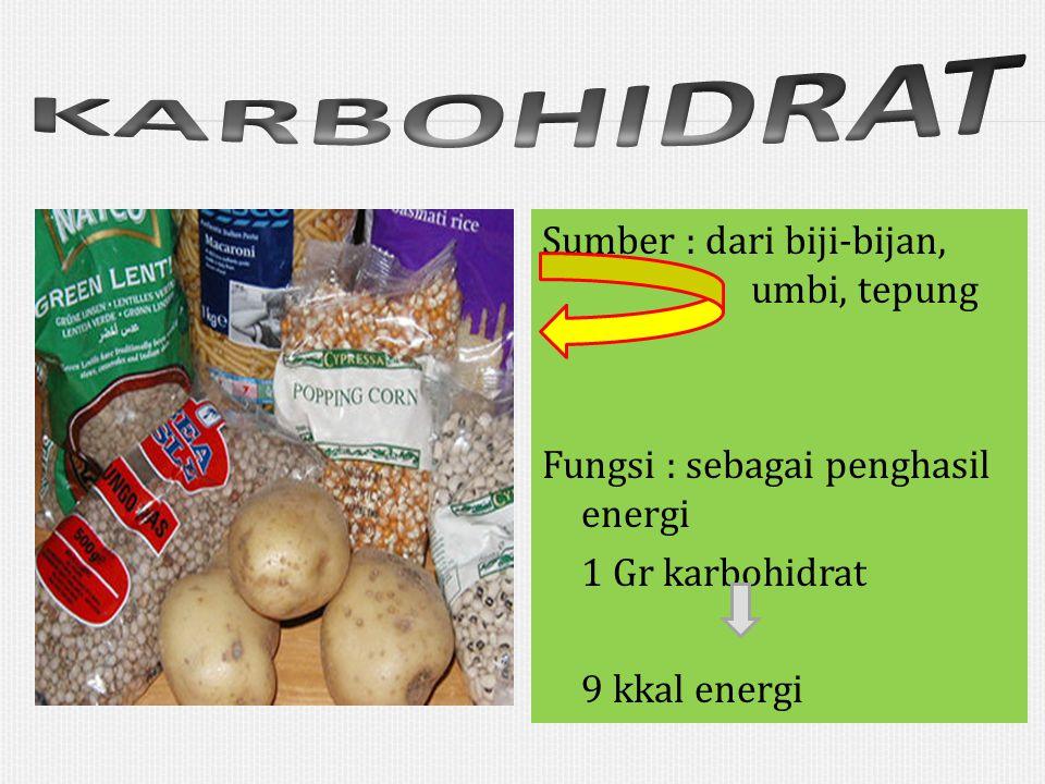 KARBOHIDRAT Sumber : dari biji-bijan, umbi, tepung Fungsi : sebagai penghasil energi 1 Gr karbohidrat 9 kkal energi