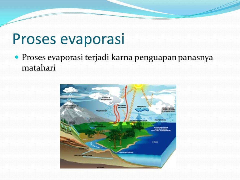 Proses evaporasi Proses evaporasi terjadi karna penguapan panasnya matahari