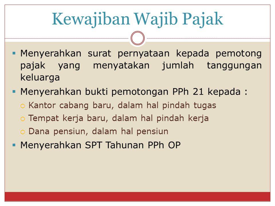 Kewajiban Wajib Pajak Menyerahkan surat pernyataan kepada pemotong pajak yang menyatakan jumlah tanggungan keluarga.