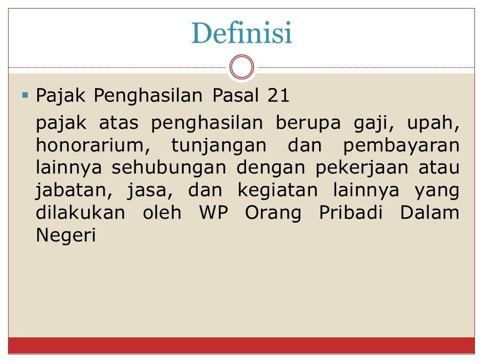 Definisi Pajak Penghasilan Pasal 21
