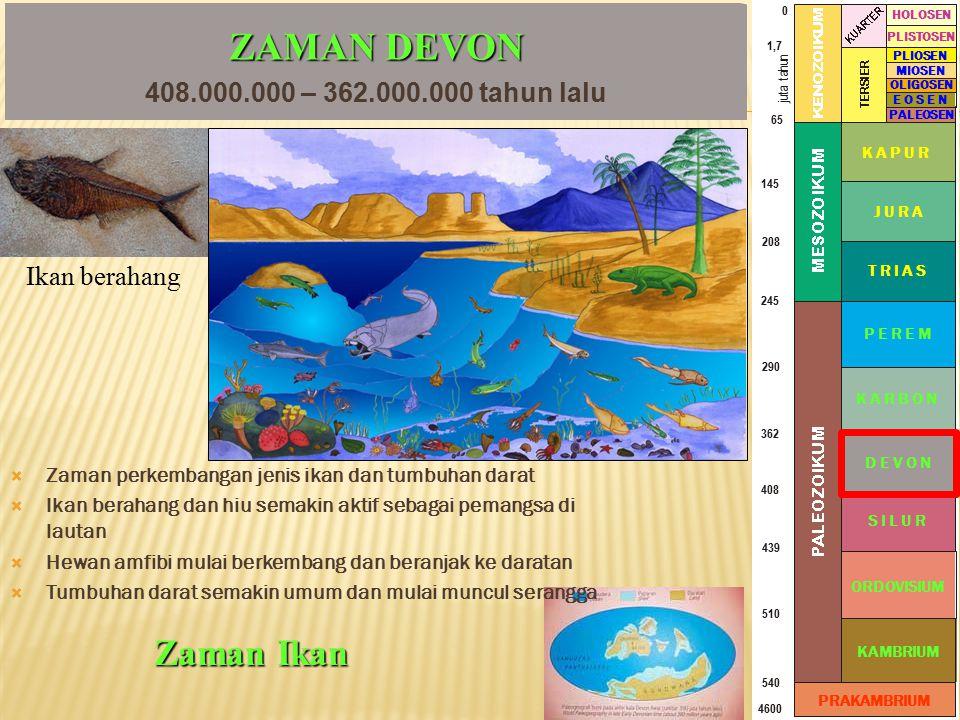 ZAMAN DEVON Zaman Ikan 408.000.000 – 362.000.000 tahun lalu