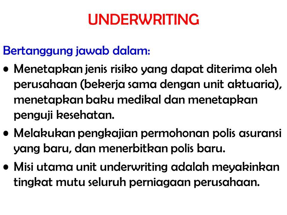 UNDERWRITING Bertanggung jawab dalam:
