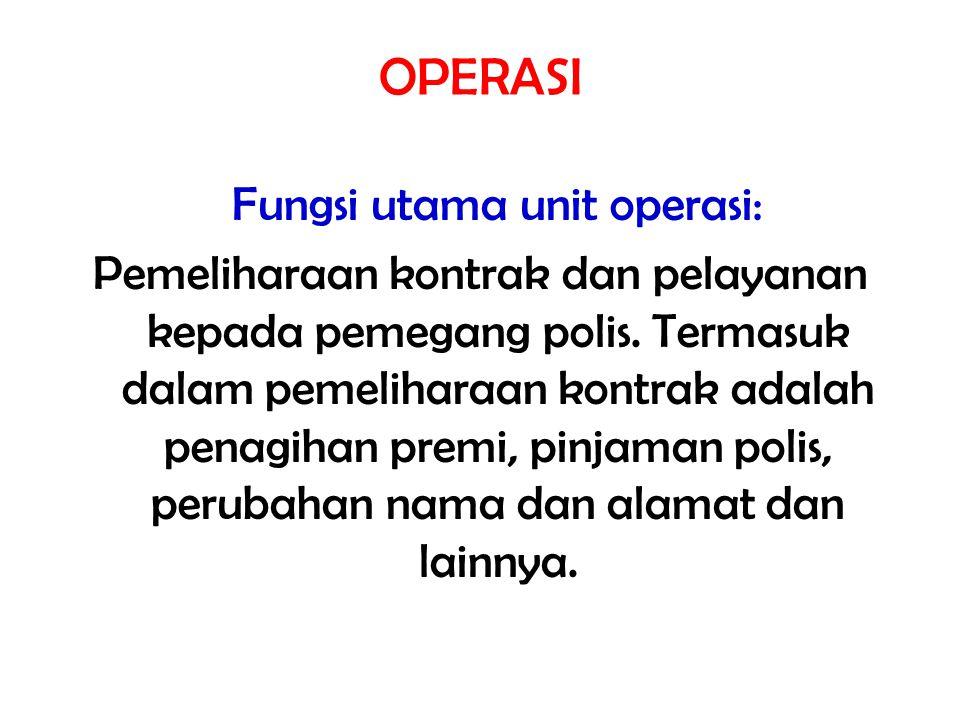 Fungsi utama unit operasi: