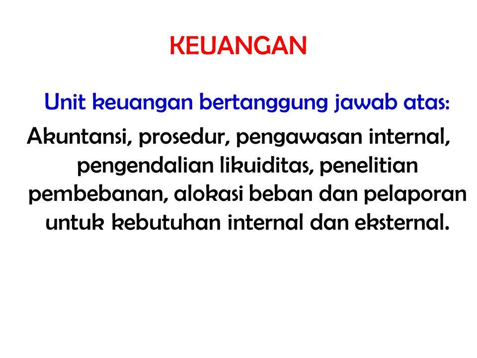 Unit keuangan bertanggung jawab atas: