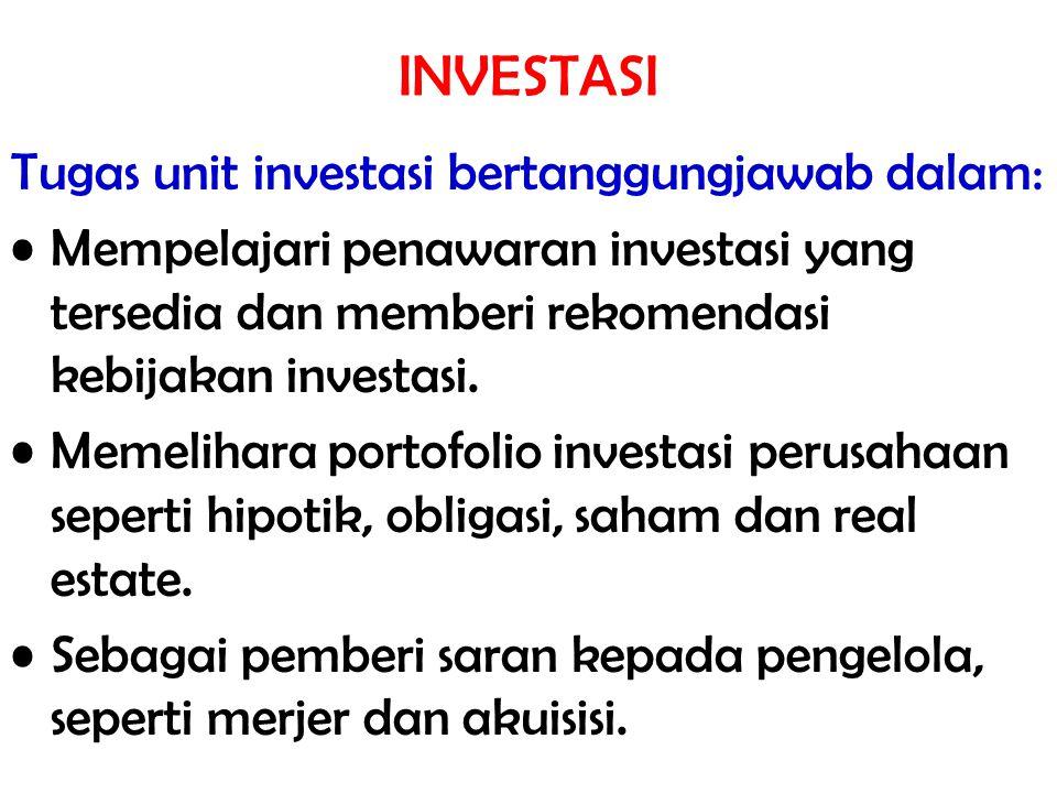 INVESTASI Tugas unit investasi bertanggungjawab dalam: