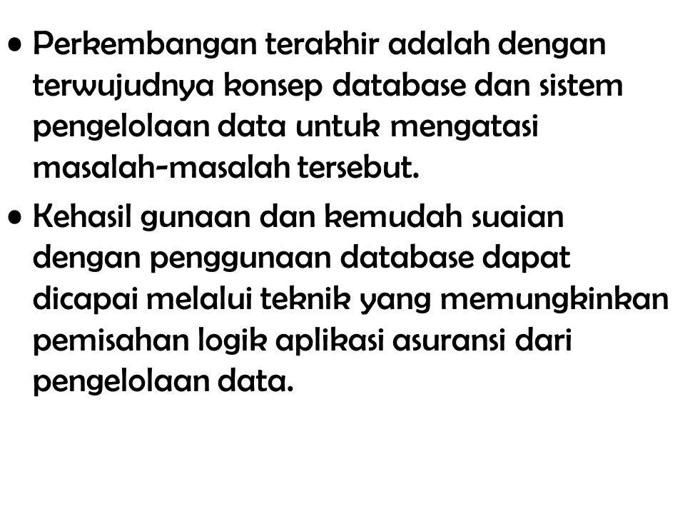 Perkembangan terakhir adalah dengan terwujudnya konsep database dan sistem pengelolaan data untuk mengatasi masalah-masalah tersebut.
