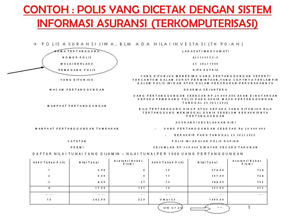 CONTOH : POLIS YANG DICETAK DENGAN SISTEM INFORMASI ASURANSI (TERKOMPUTERISASI)