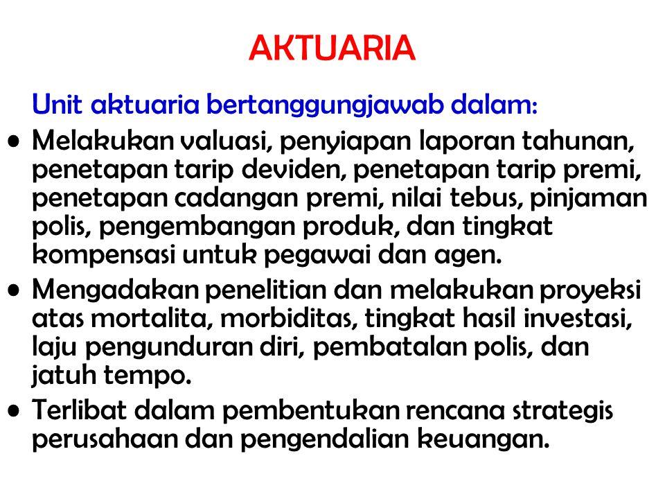 AKTUARIA Unit aktuaria bertanggungjawab dalam: