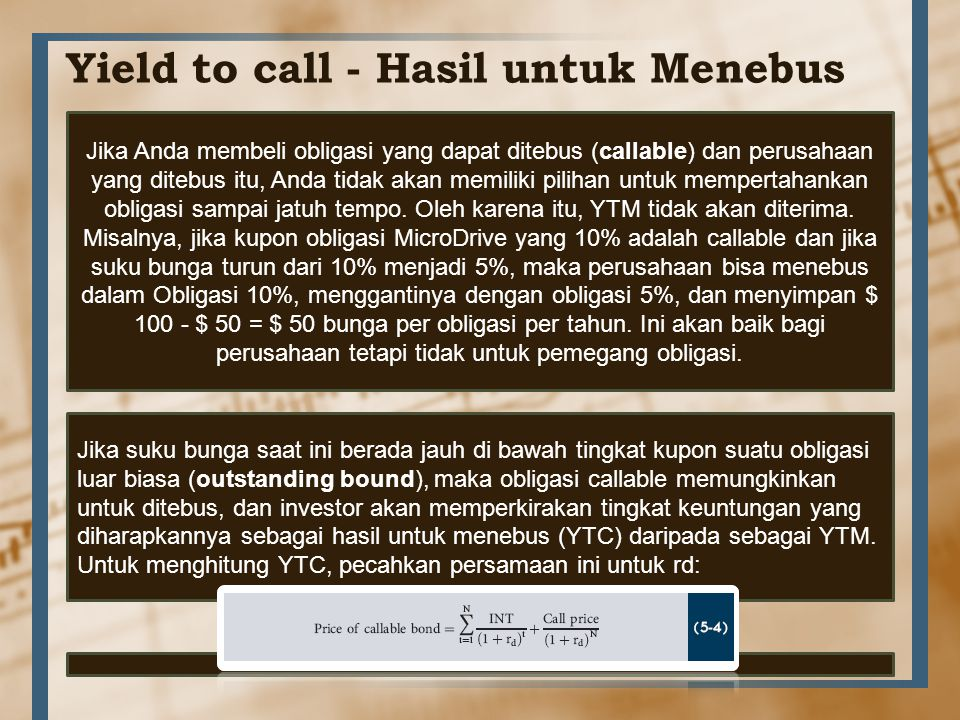 Yield to call - Hasil untuk Menebus