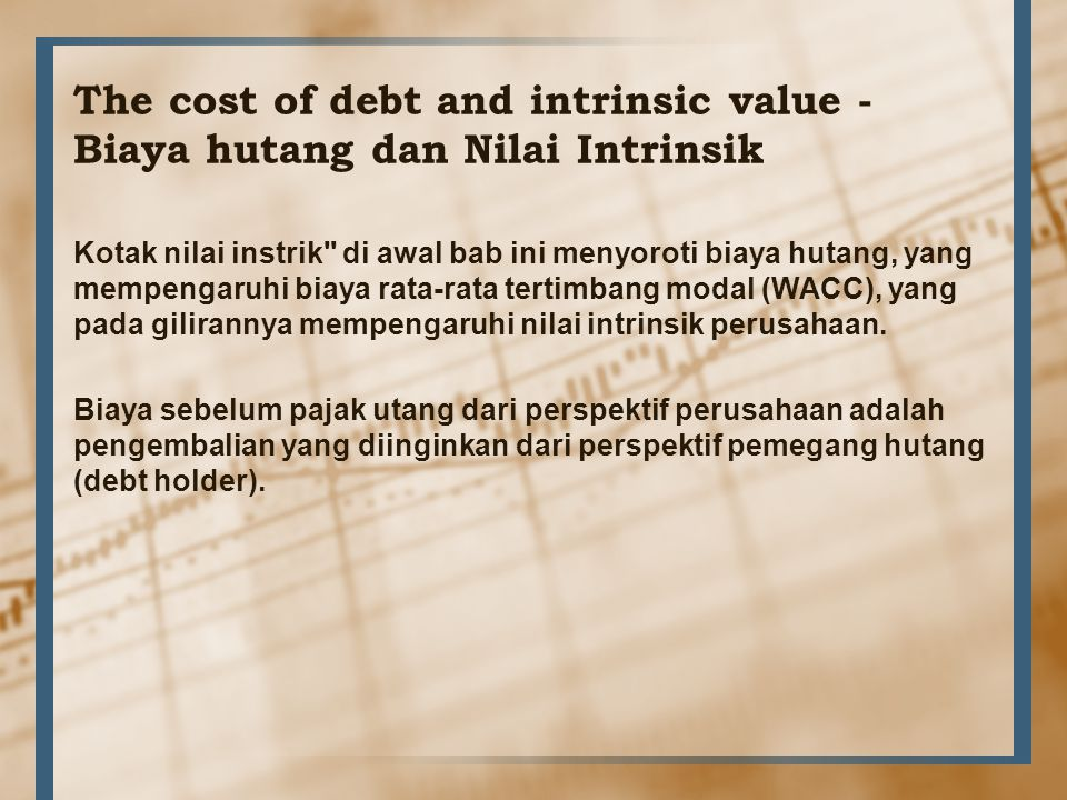 The cost of debt and intrinsic value - Biaya hutang dan Nilai Intrinsik
