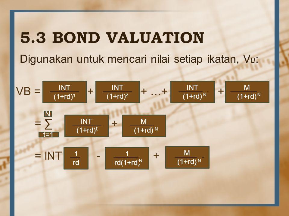 5.3 BOND VALUATION Digunakan untuk mencari nilai setiap ikatan, VB: