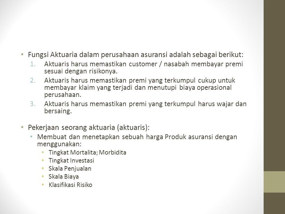 Fungsi Aktuaria dalam perusahaan asuransi adalah sebagai berikut: