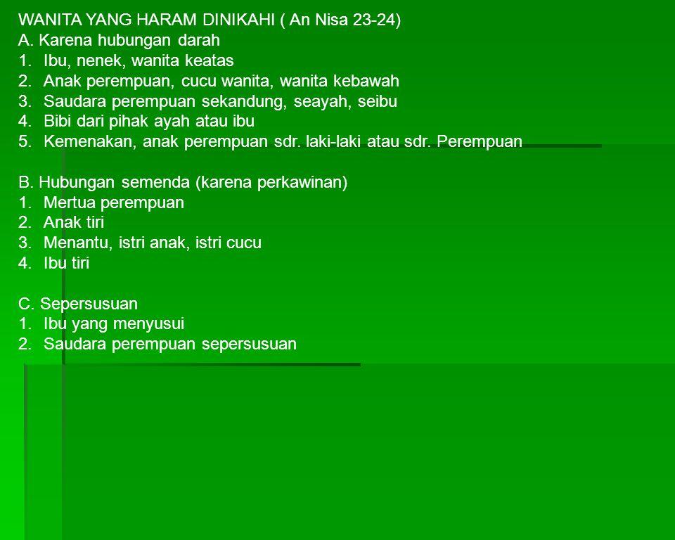 WANITA YANG HARAM DINIKAHI ( An Nisa 23-24)