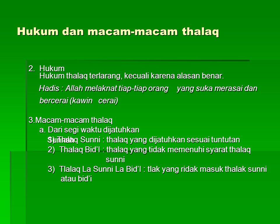 Hukum dan macam-macam thalaq