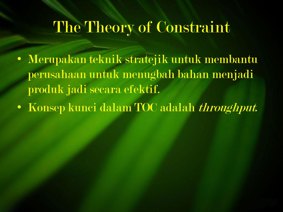 The Theory of Constraint