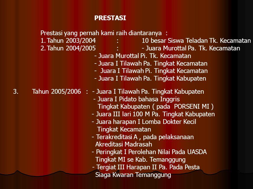 PRESTASI Prestasi yang pernah kami raih diantaranya : 1. Tahun 2003/2004 : 10 besar Siswa Teladan Tk. Kecamatan.
