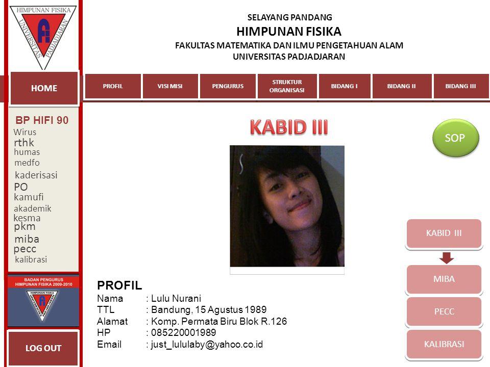 KABID III SOP rthk PO pkm miba pecc PROFIL BP HIFI 90 kaderisasi