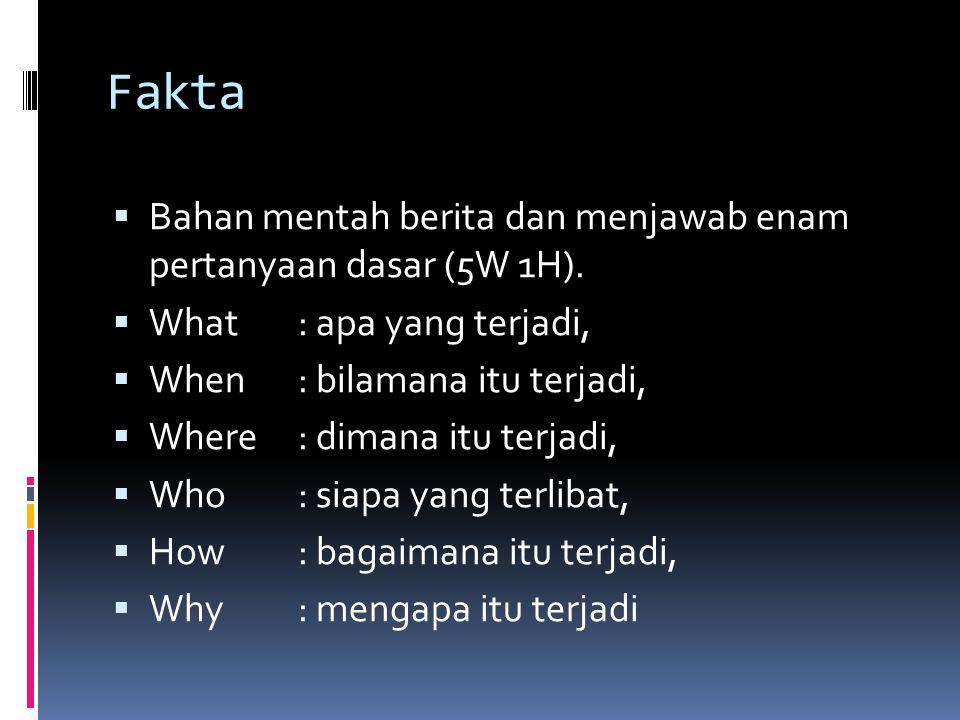 Fakta Bahan mentah berita dan menjawab enam pertanyaan dasar (5W 1H).