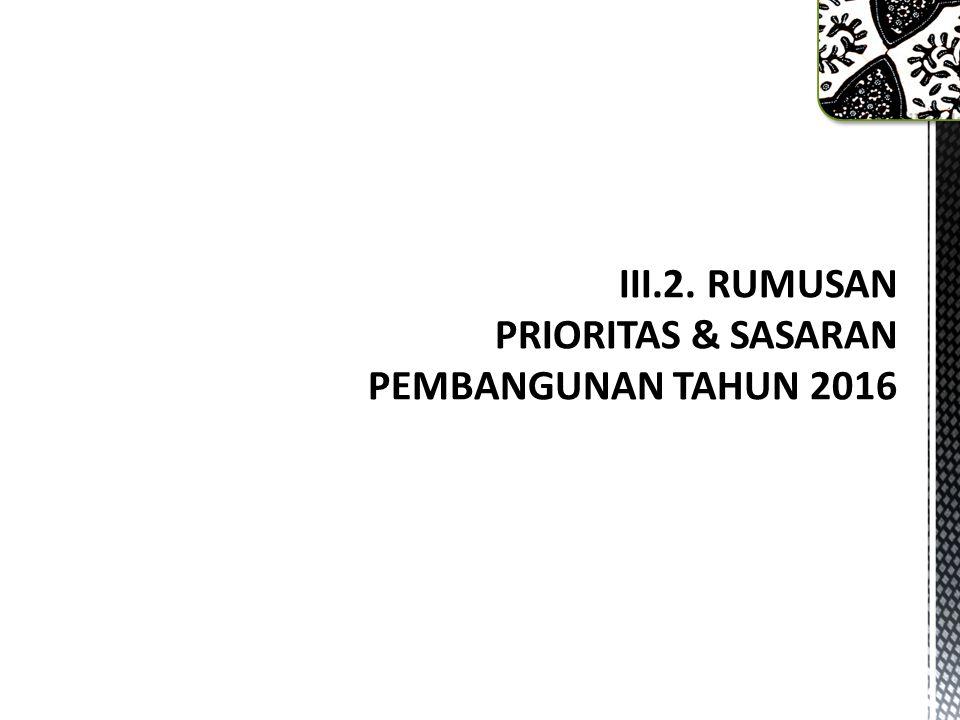 III.2. RUMUSAN PRIORITAS & SASARAN PEMBANGUNAN TAHUN 2016