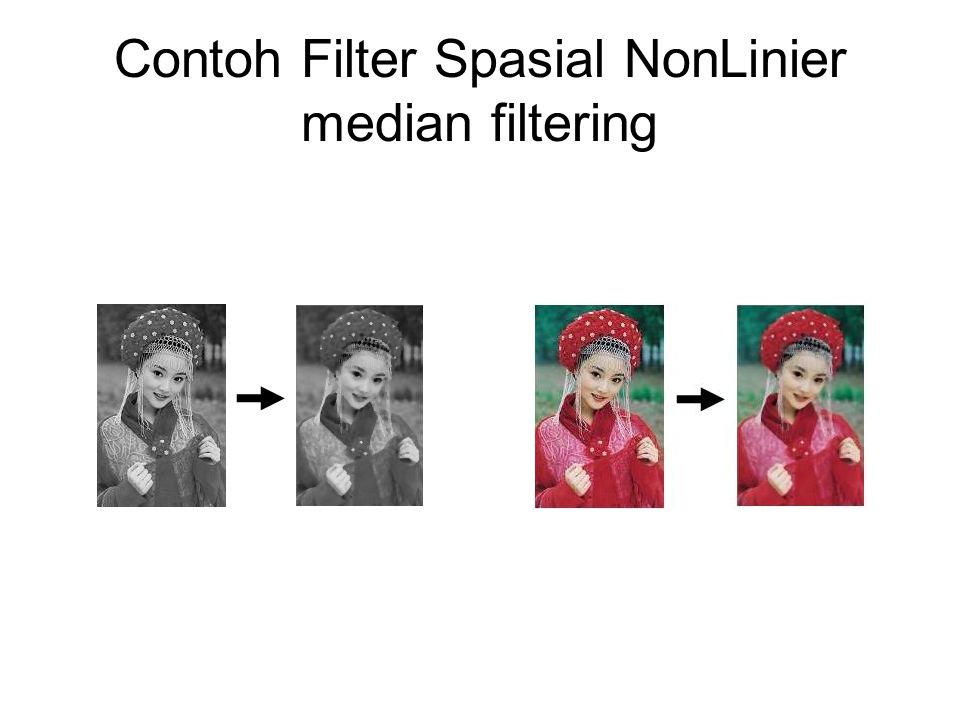 Contoh Filter Spasial NonLinier median filtering