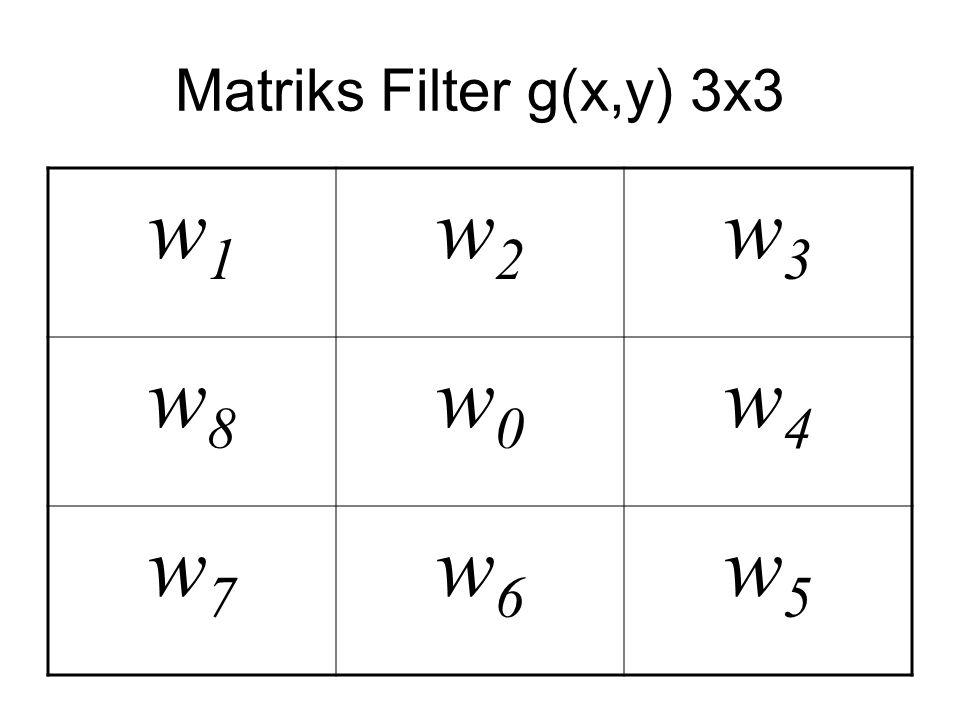 Matriks Filter g(x,y) 3x3 w1 w2 w3 w8 w0 w4 w7 w6 w5