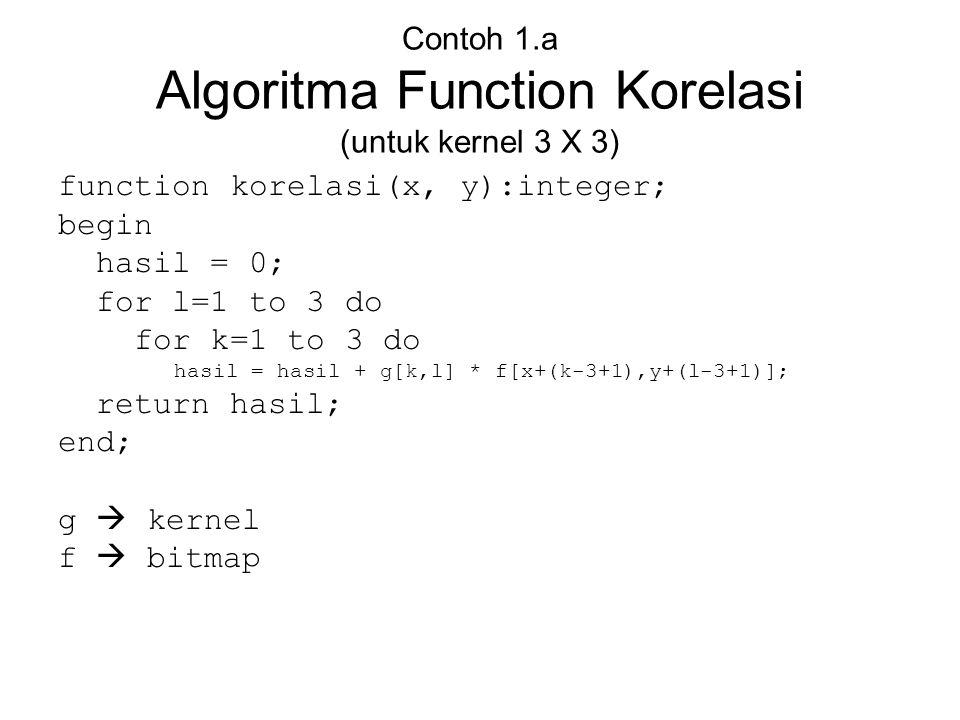 Contoh 1.a Algoritma Function Korelasi (untuk kernel 3 X 3)