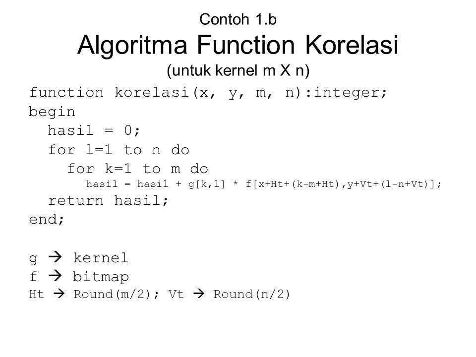 Contoh 1.b Algoritma Function Korelasi (untuk kernel m X n)