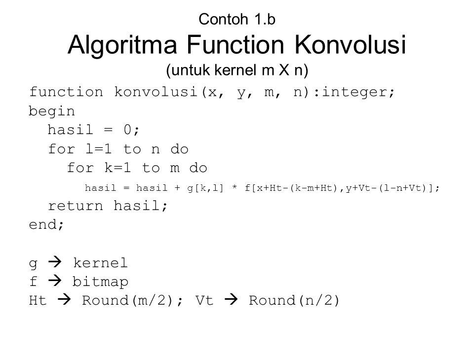 Contoh 1.b Algoritma Function Konvolusi (untuk kernel m X n)