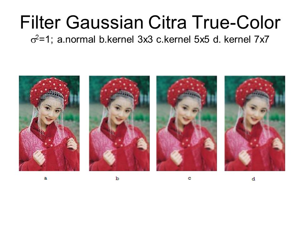 Filter Gaussian Citra True-Color 2=1; a. normal b. kernel 3x3 c