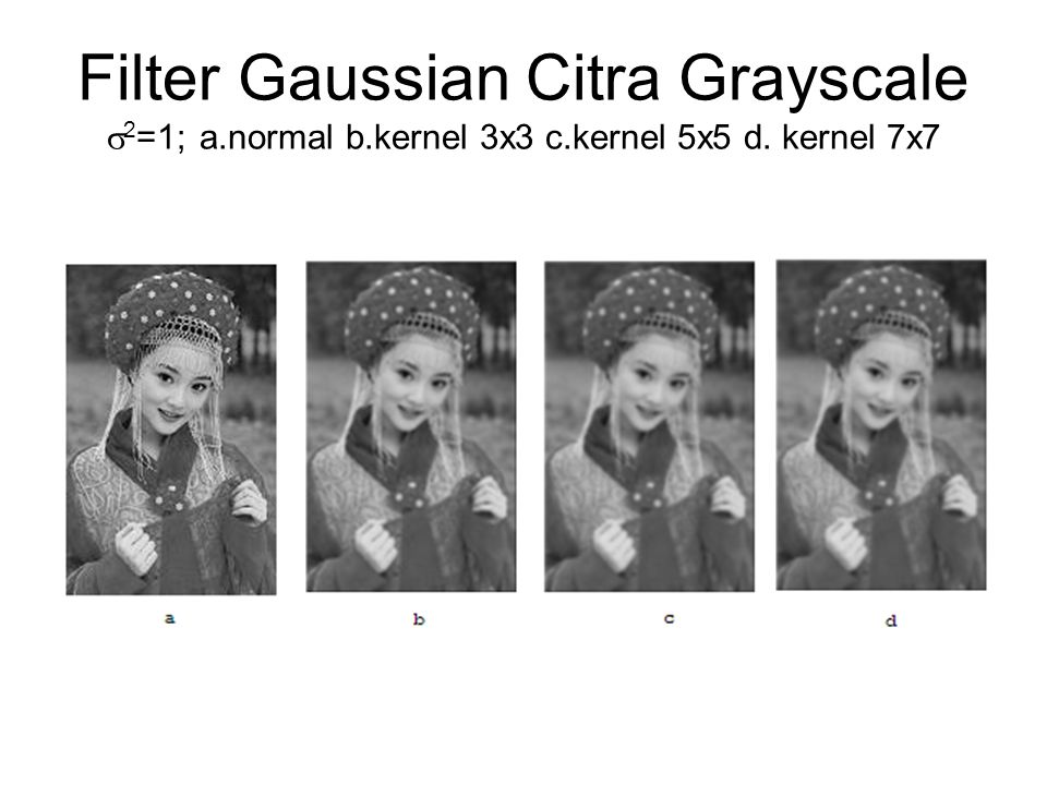 Filter Gaussian Citra Grayscale 2=1; a. normal b. kernel 3x3 c