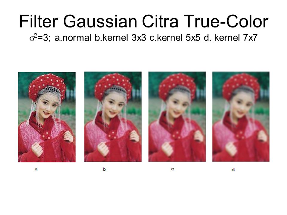 Filter Gaussian Citra True-Color 2=3; a. normal b. kernel 3x3 c