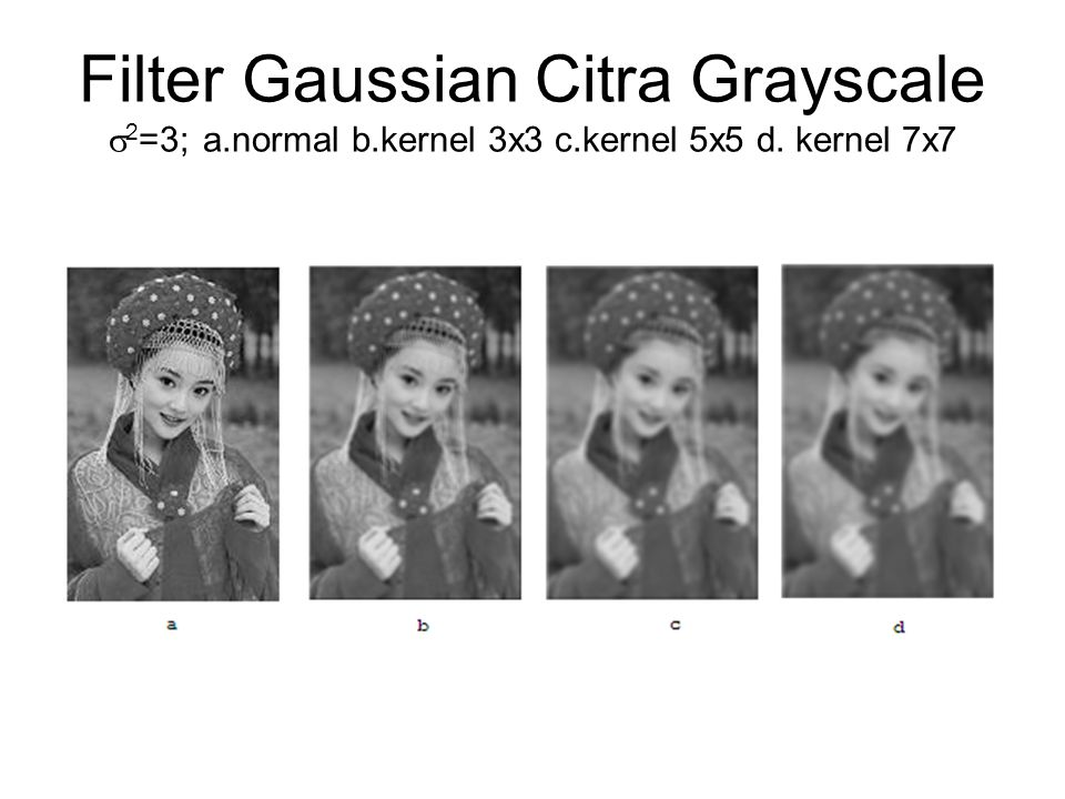 Filter Gaussian Citra Grayscale 2=3; a. normal b. kernel 3x3 c