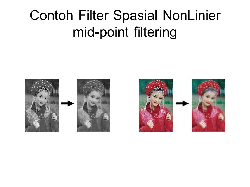Contoh Filter Spasial NonLinier mid-point filtering