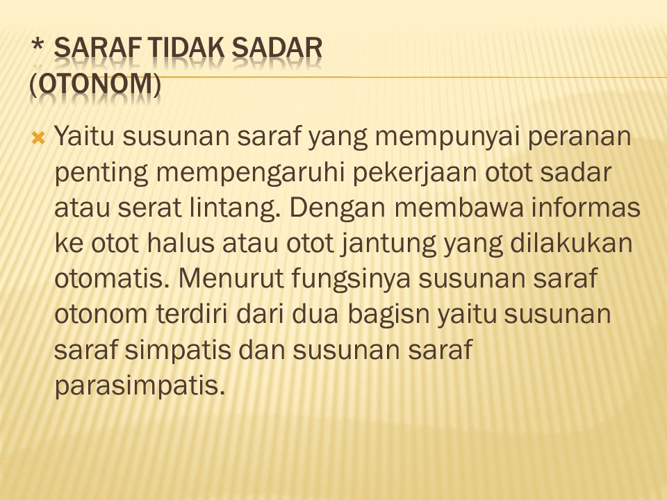 * Saraf tidak sadar (otonom)