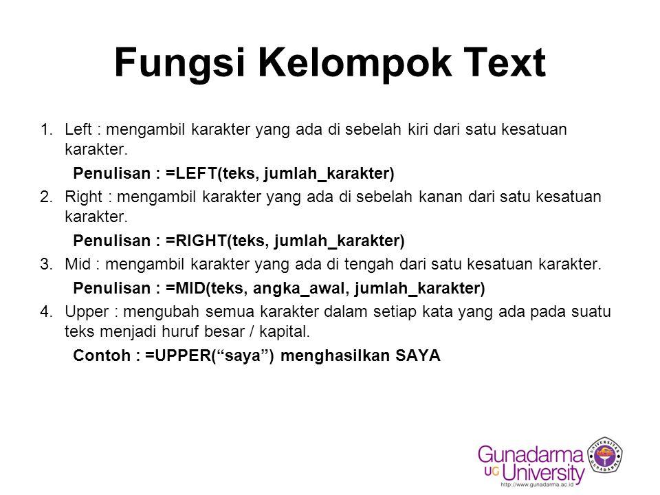 Fungsi Kelompok Text Left : mengambil karakter yang ada di sebelah kiri dari satu kesatuan karakter.