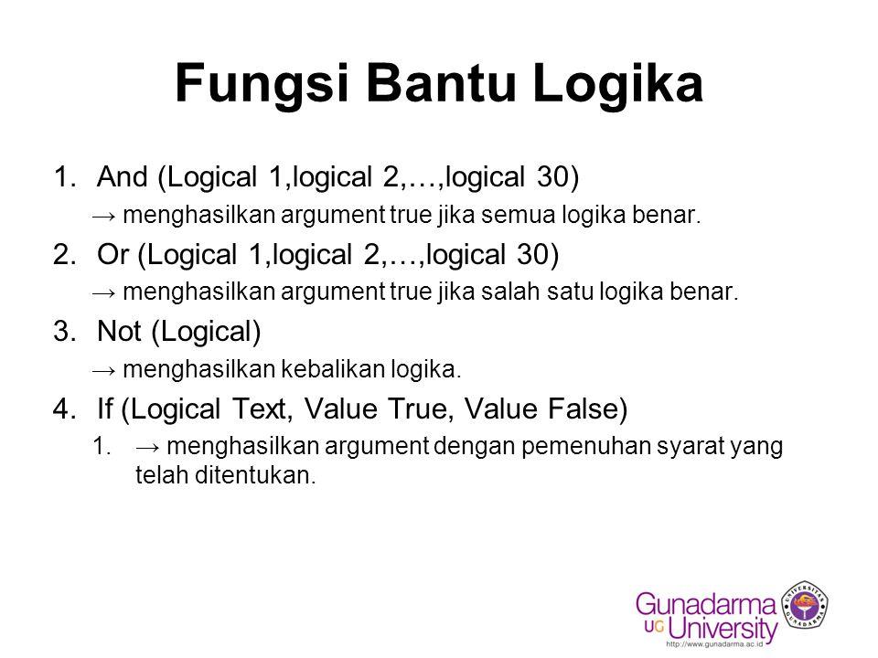 Fungsi Bantu Logika And (Logical 1,logical 2,…,logical 30)