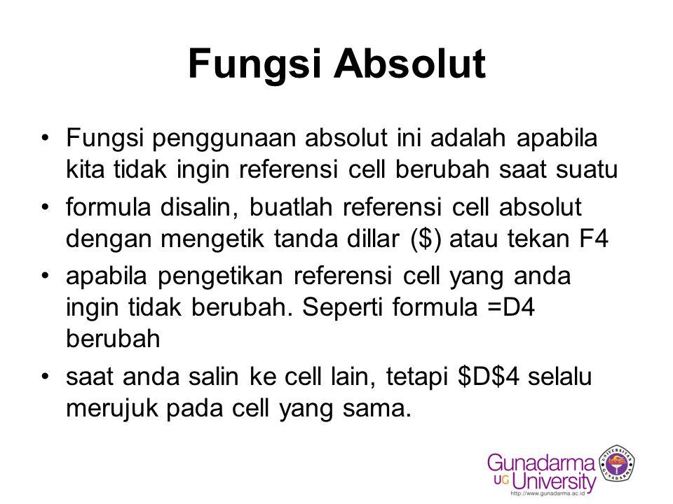 Fungsi Absolut Fungsi penggunaan absolut ini adalah apabila kita tidak ingin referensi cell berubah saat suatu.