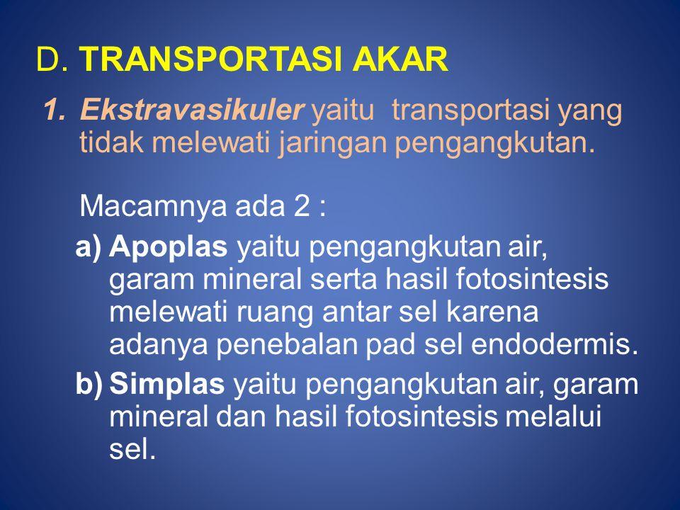 D. TRANSPORTASI AKAR Ekstravasikuler yaitu transportasi yang tidak melewati jaringan pengangkutan.