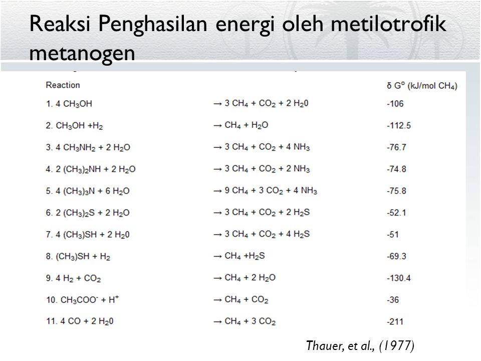 Reaksi Penghasilan energi oleh metilotrofik metanogen