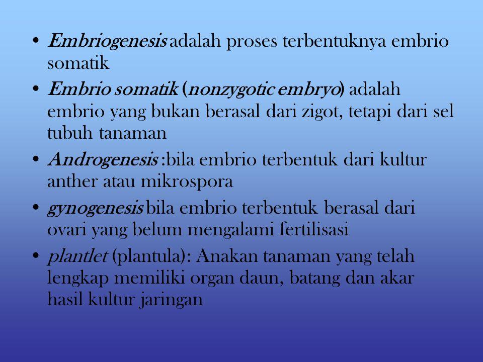 Embriogenesis adalah proses terbentuknya embrio somatik
