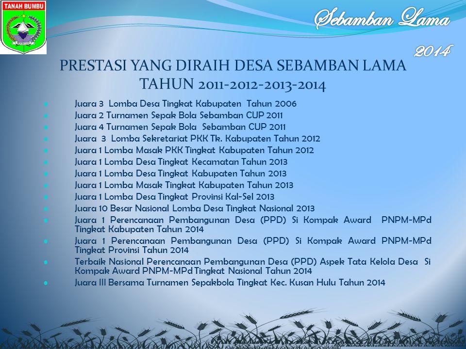 PRESTASI YANG DIRAIH DESA SEBAMBAN LAMA TAHUN 2011-2012-2013-2014