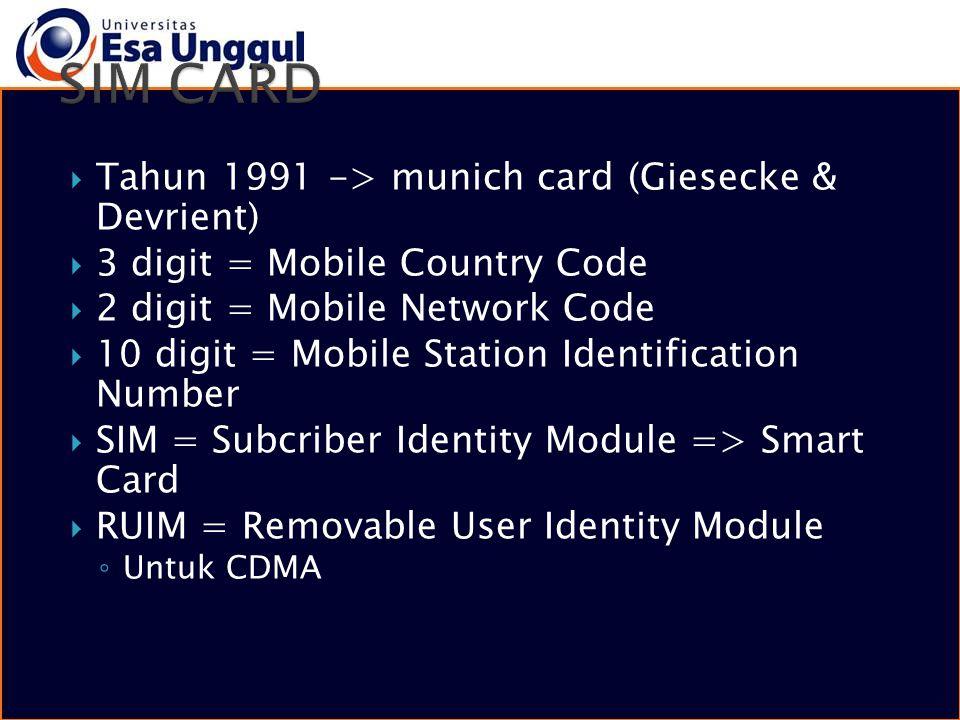 SIM CARD Tahun 1991 -> munich card (Giesecke & Devrient)