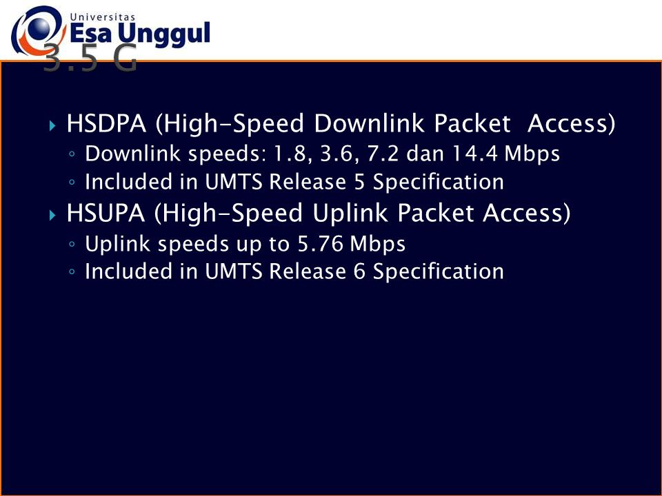 3.5 G HSDPA (High-Speed Downlink Packet Access)