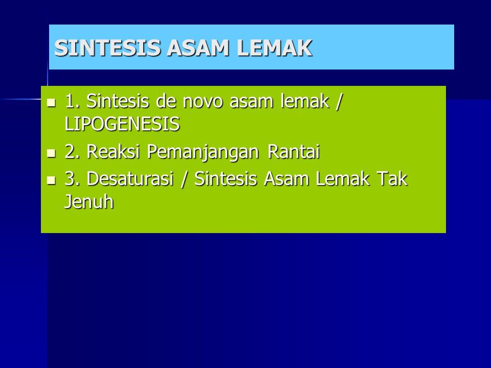 SINTESIS ASAM LEMAK 1. Sintesis de novo asam lemak / LIPOGENESIS