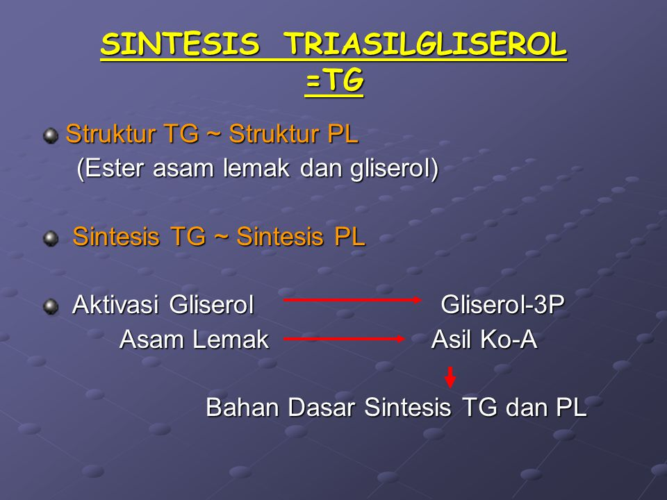SINTESIS TRIASILGLISEROL =TG