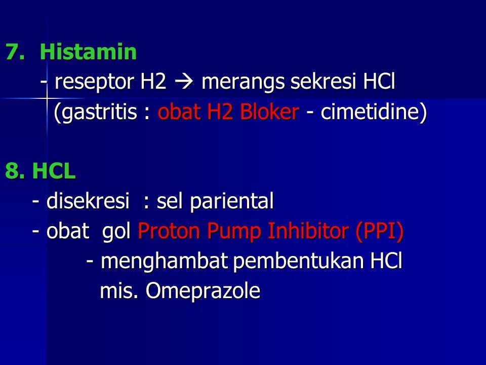 7. Histamin - reseptor H2  merangs sekresi HCl. (gastritis : obat H2 Bloker - cimetidine) 8. HCL.