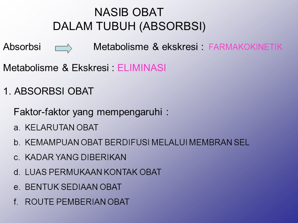 NASIB OBAT DALAM TUBUH (ABSORBSI)